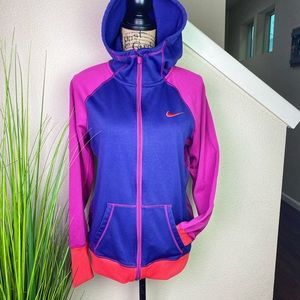 Nike thermafit color blocked hoodie w cowl neck